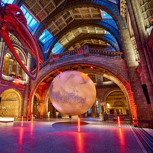 Luke Jeram instalation of Mars in Hintze Hall, January 2021- Image credit - Trustees of the Natural History Museum