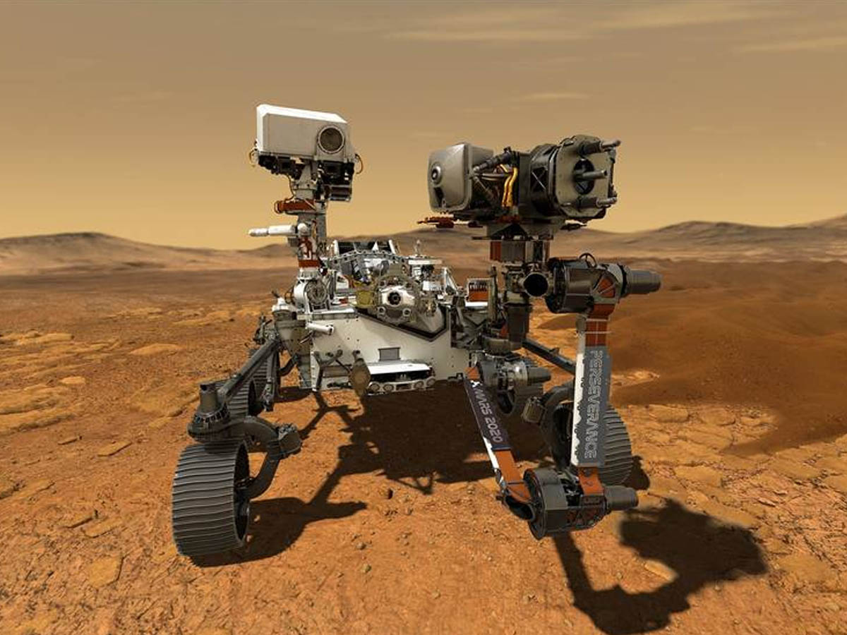 This illustration depicts NASAs Perseverance rover operating on the surface of Mars - Image credit - NASA-JPL-Caltech