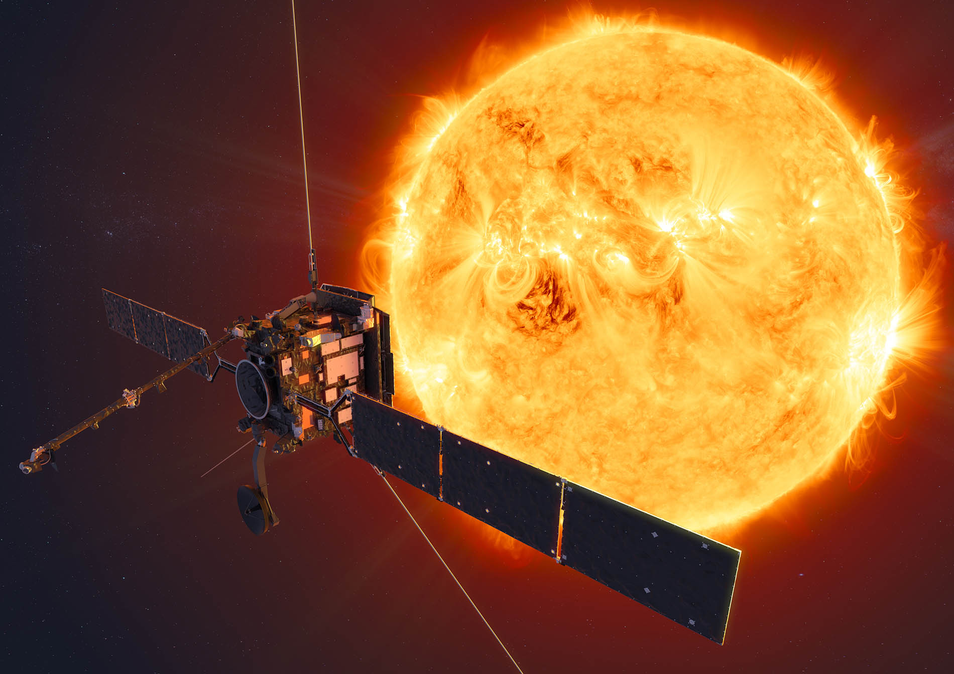 ESAs Solar Orbiter mission will face the Sun from within the orbit of Mercury at its closest approach - Image credit - ESA - ATG medialab